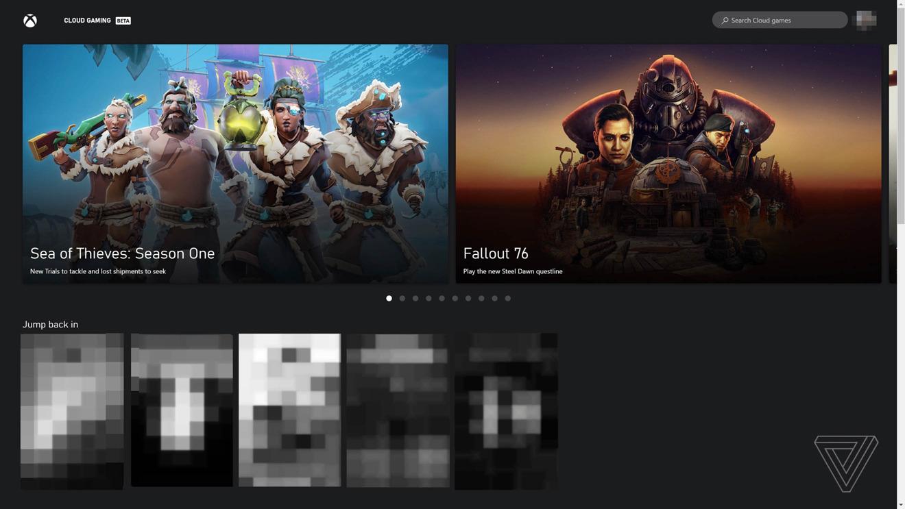 A screenshot of Microsoft's xCloud browser gaming service [via The Verge]