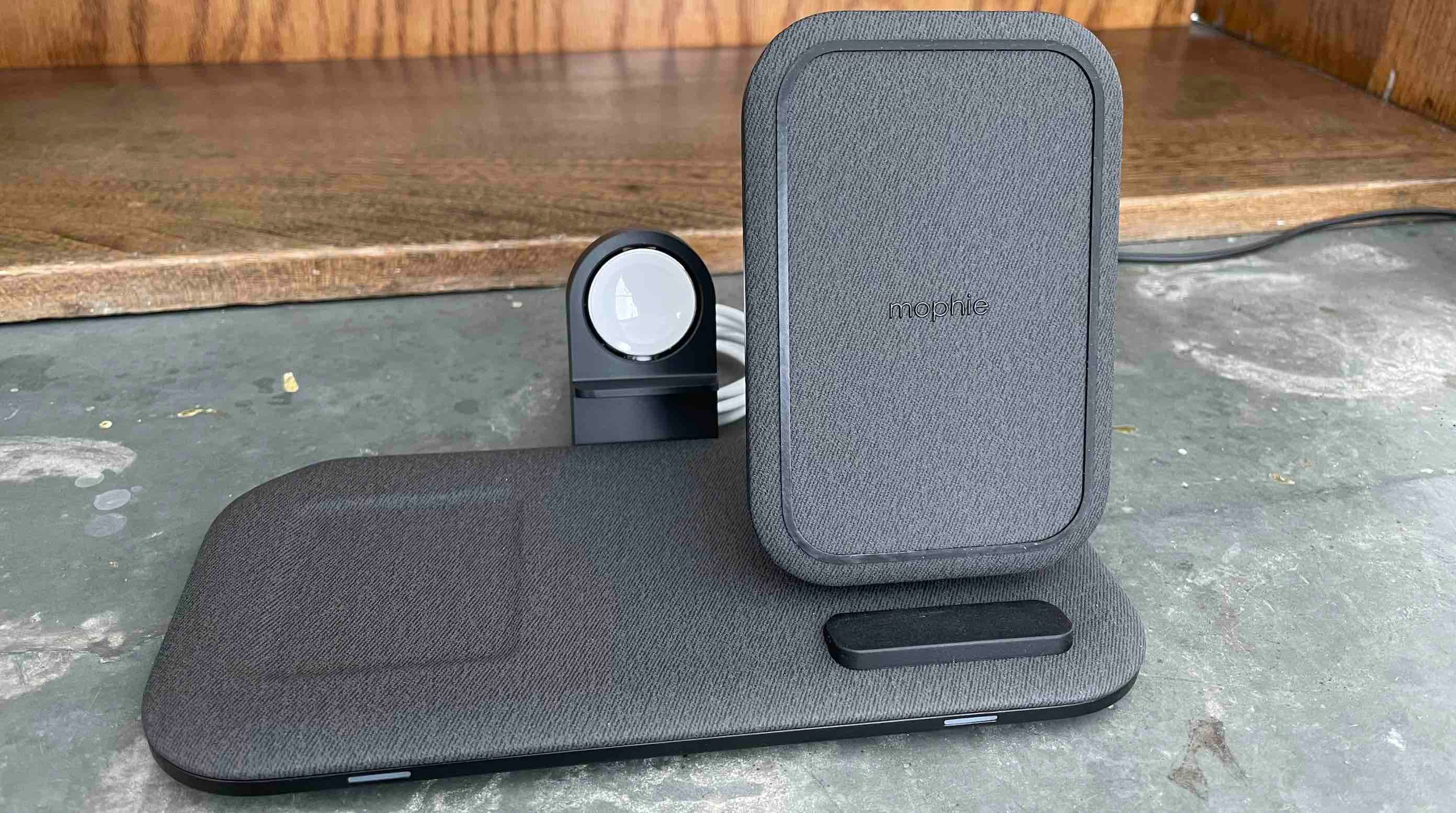 Mophie Charging Station+ for Apple Watch, iPhone, AirPods close up