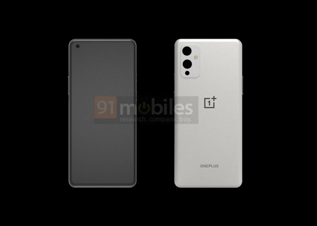 Leaked CAD renders of the OnePlus 9 on black background