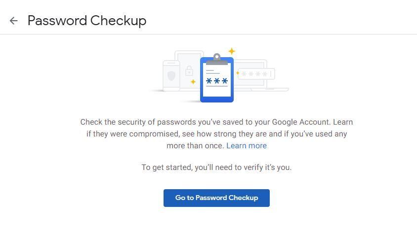Google Password check up tip