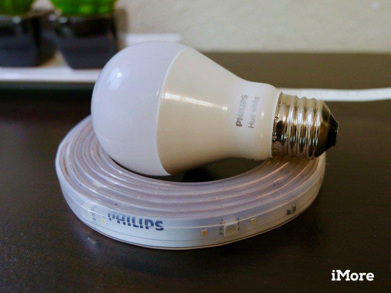 Philips Hue white light bulb on a Hue lightstrip
