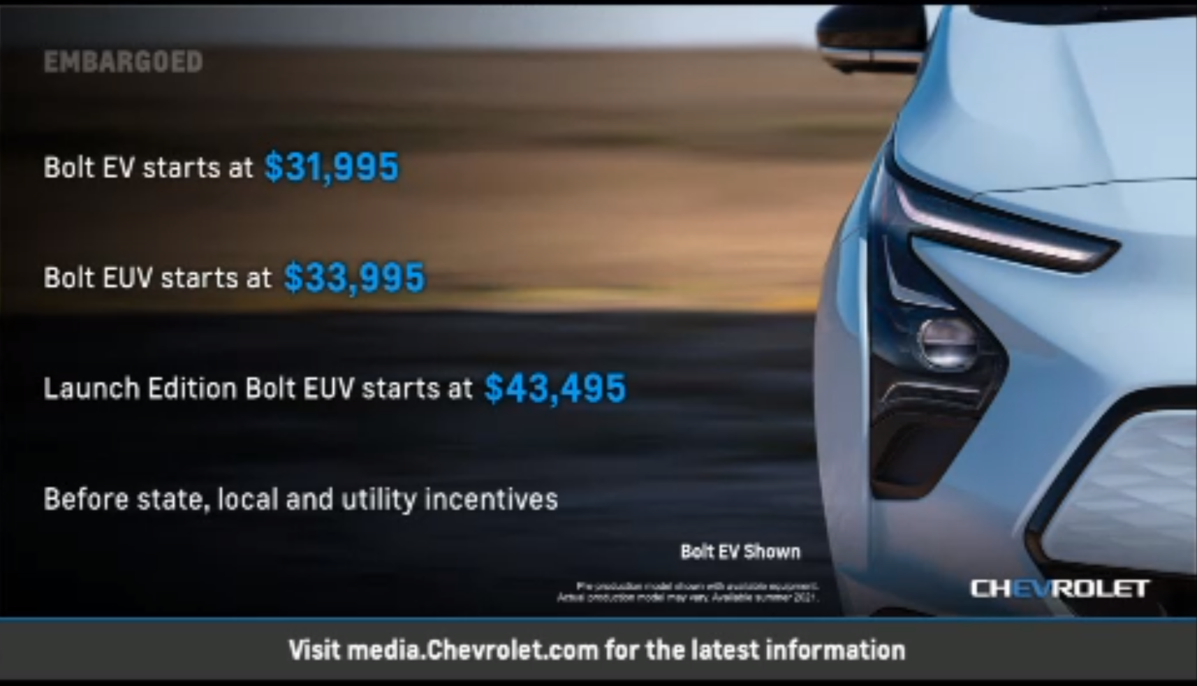 Bolt EV and EUV MSRP