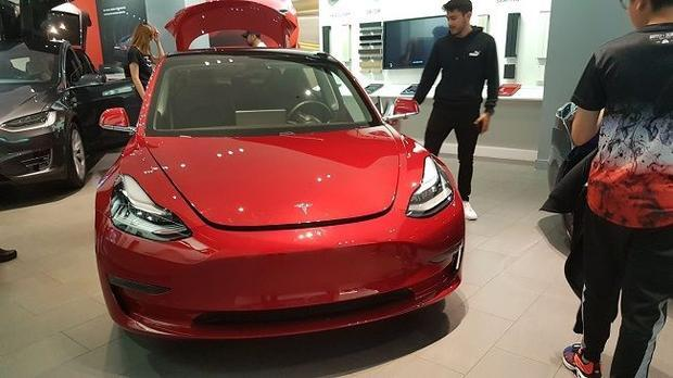 Tesla Model 3 on show at the company s London showroom.