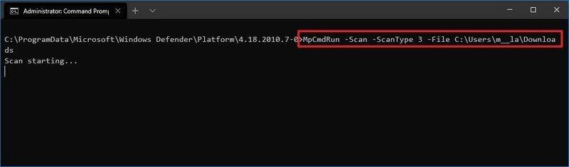 Microsoft Defender custom scan