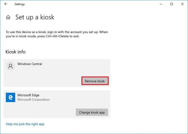 Windows 10 remove kiosk mode