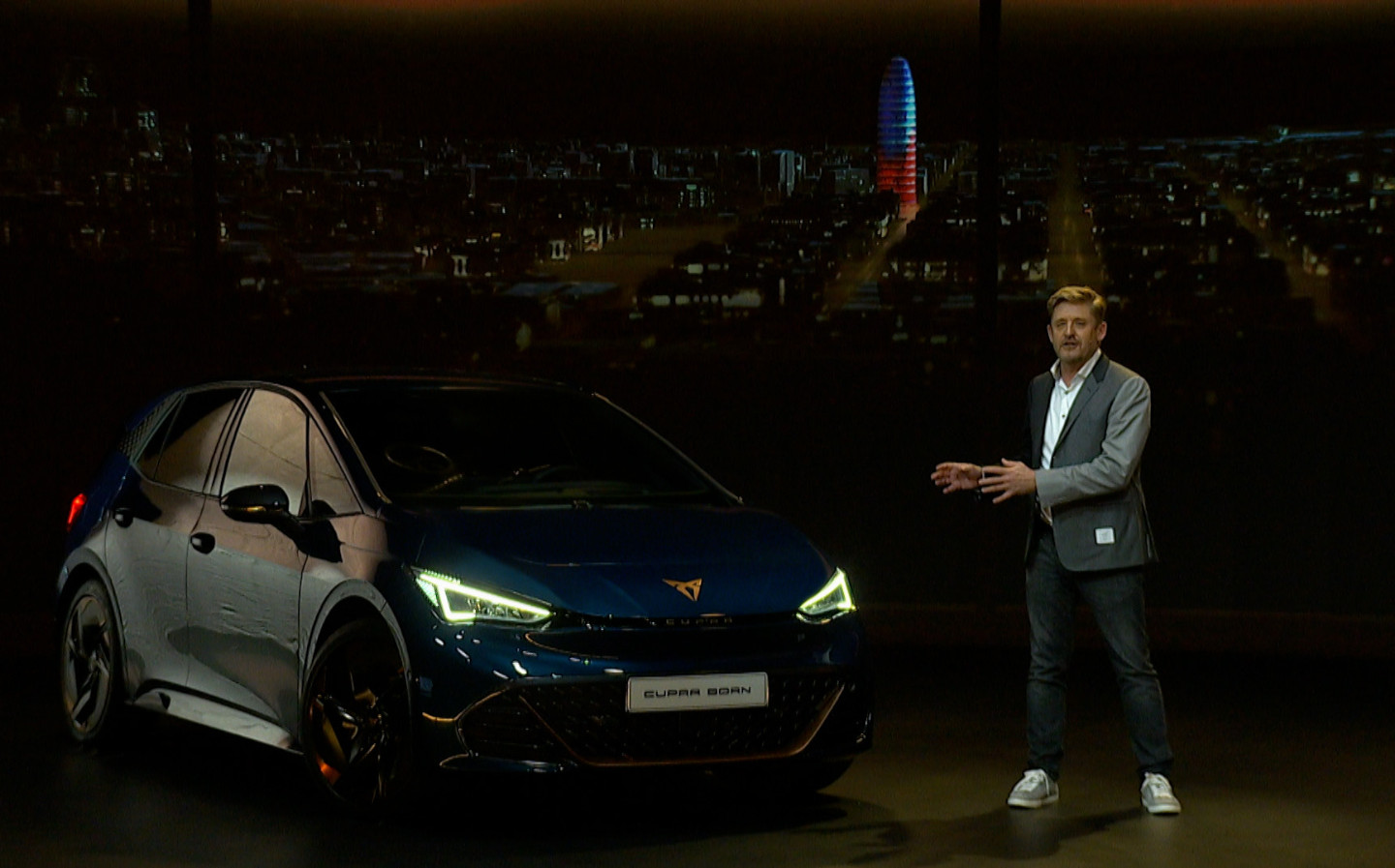 Cupra CEO Wayne Griffths with the Born electric hatchback