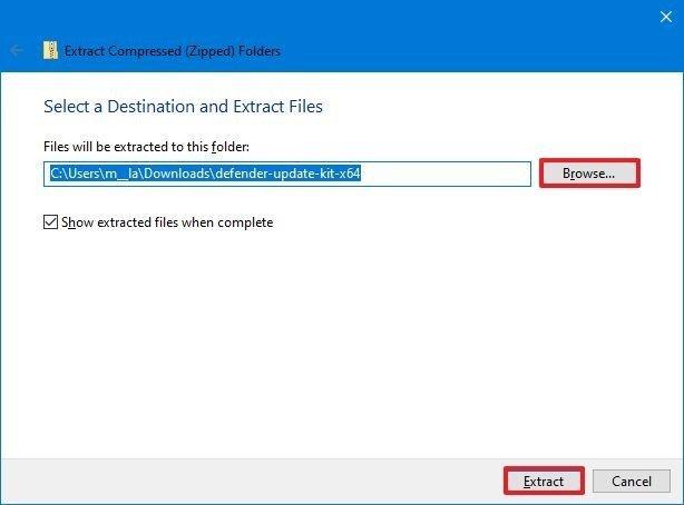 Select zip extract location