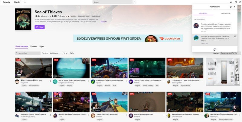 Sea Of Thieves Twitch Notification