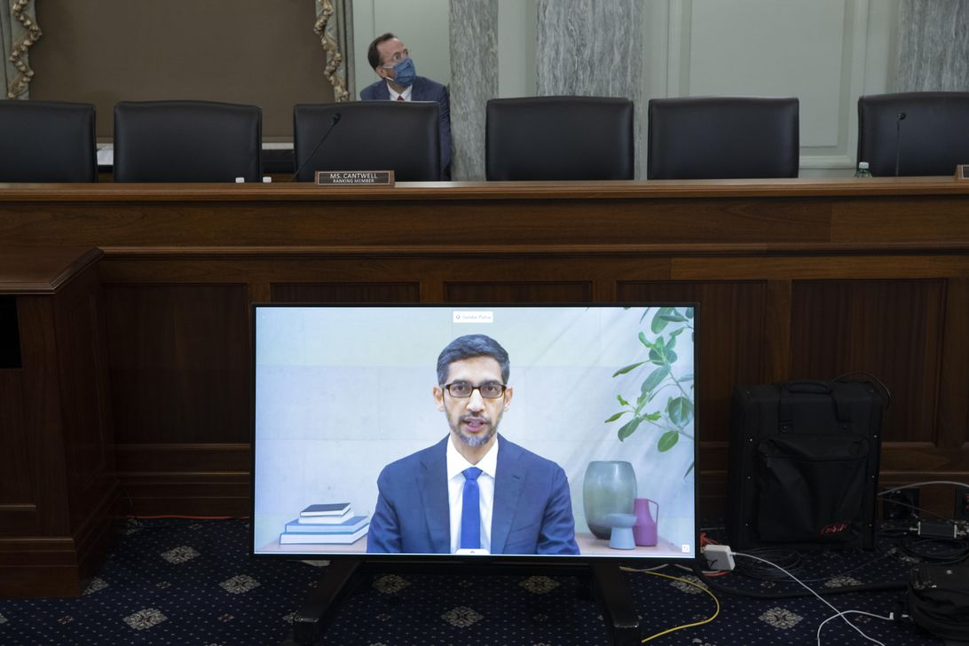Sundar Pichai addresses a US Senate committee