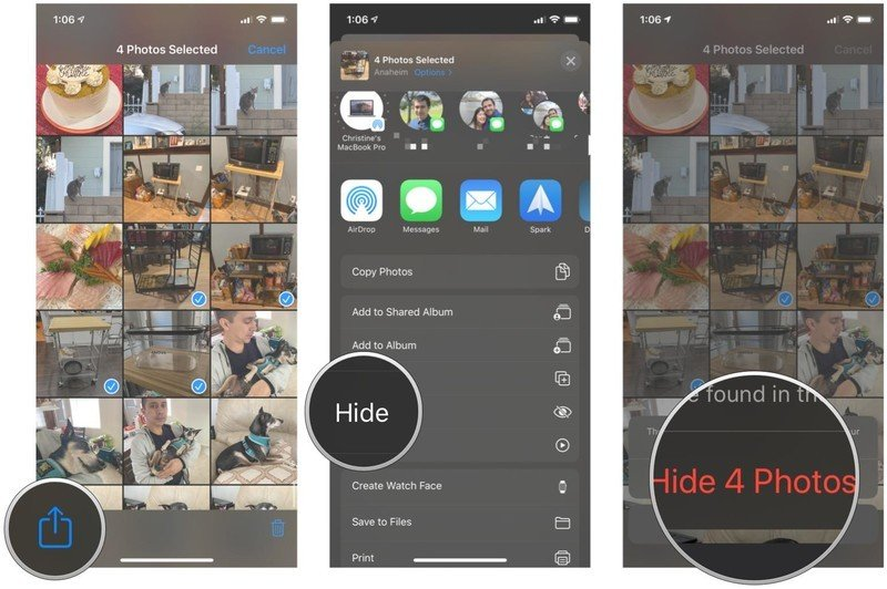 Hide photos and video in Photos on iPhone and iPad by showing steps: Select photos and video, tap Share, tap Hide, confirm to hide