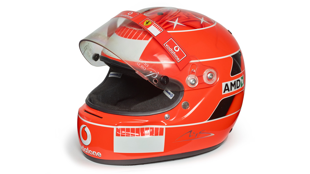 A helmet worn by Michael Schumacher during the 2005 Formula 1 season.