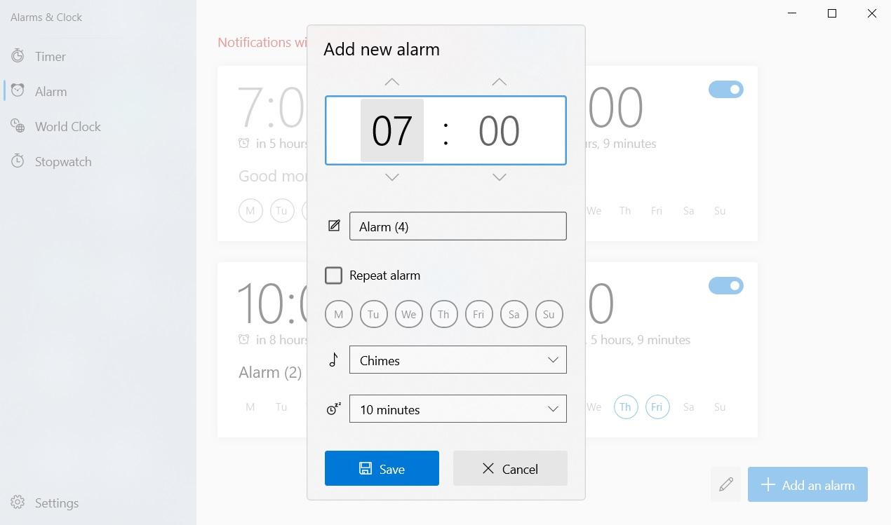 New Alarms app