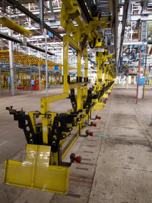 Many elements of the production line at the old GM factory are still in place.