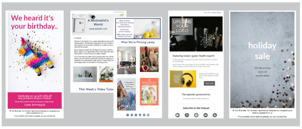 Collage showing four different email templates - a birthday discount, a weekly newsletter with multiple blocks, a new podcast episode announcement, and a holiday sale flyer.