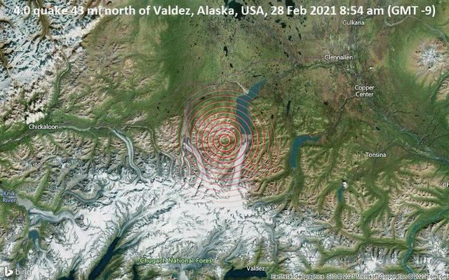 4.0 quake 43 mi north of Valdez, Alaska, USA, 28 Feb 2021 8:54 am (GMT -9)