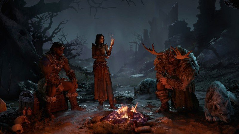 The Barbarian, Sorceress and Druid in Diablo 4