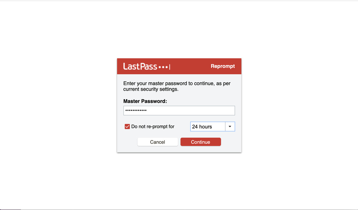 Fill in your master password to download your data.