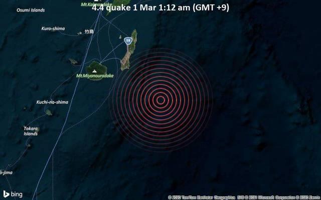 4.4 quake 1 Mar 1:12 am (GMT +9)