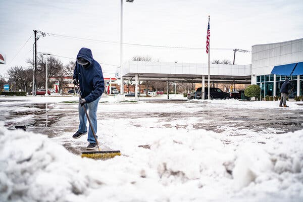 Businesses in Dallas continued to clean up after this week's storm, even if with a push broom. Natural gas futures slumped on Wednesday after Tuesday's surge.