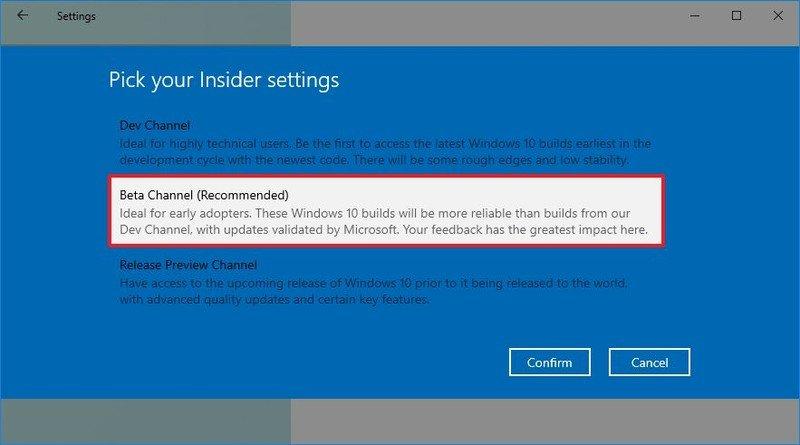 Windows 10 select Beta Channel