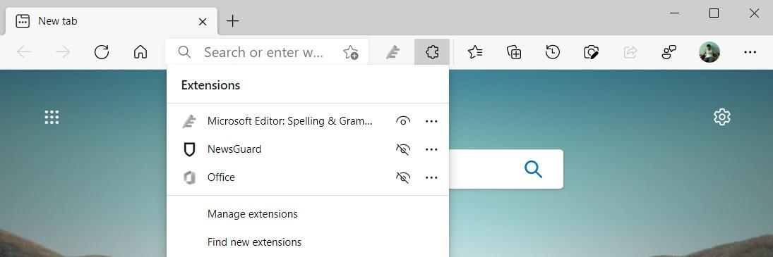 Edge extension menu
