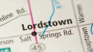 Image of a map showing Lordstown's location.