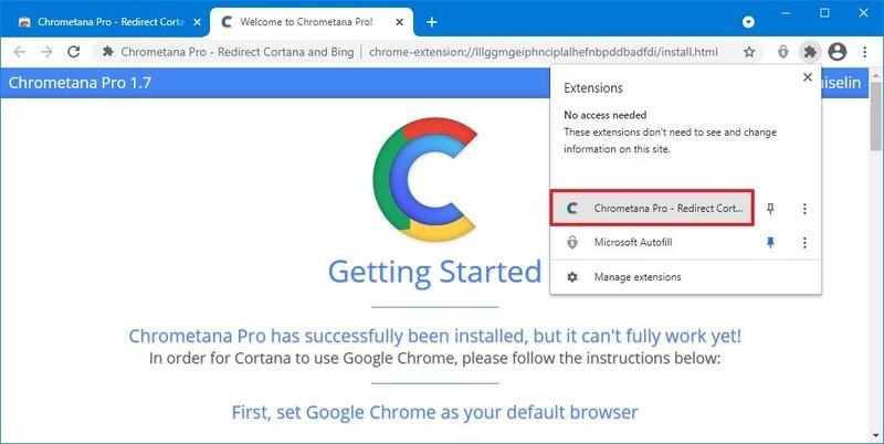 Open Chrometana Settings
