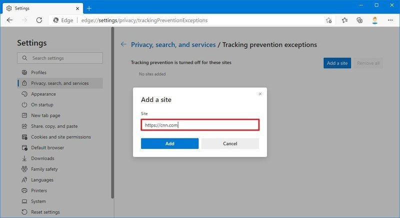 Add exception site to Tracking prevention