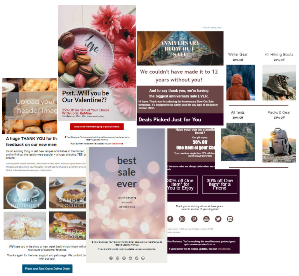 Collage showing four different email templates highlighting retail uses including a restaurant special's email, a Valentine's Day discount, a sale announcement, and an advanced retail template with multiple sections, blocks and images.