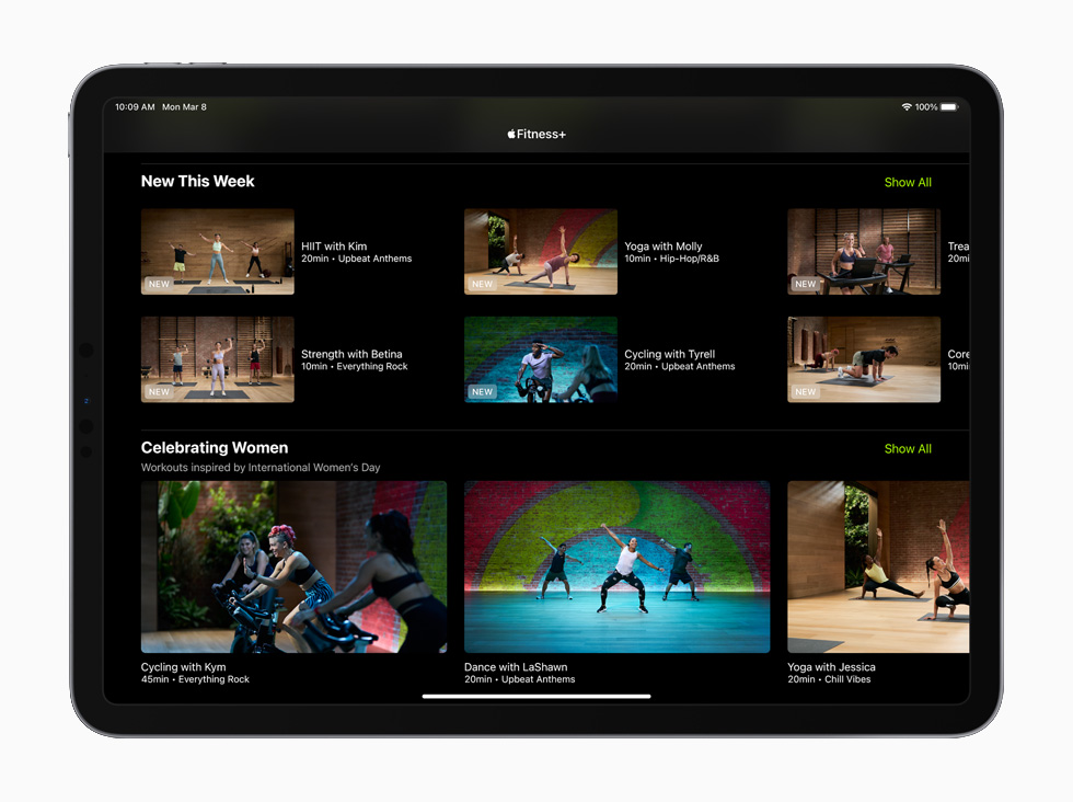 Apple Fitness+ workouts, displayed on the 11-inch iPad Pro.