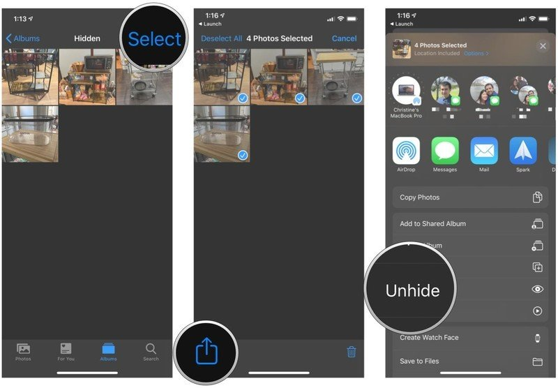 Unhide photos and video on iPhone and iPad by showing steps: tap Select, choose the media you want to unhide, tap Share, tap Unhide