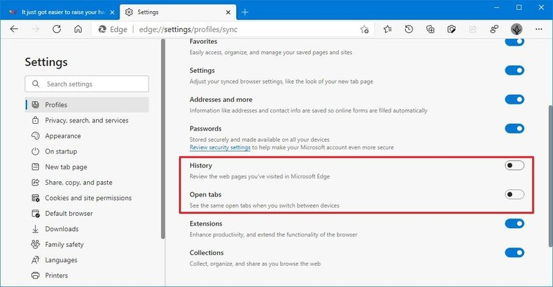 Microsoft Edge disable history and tabs sync