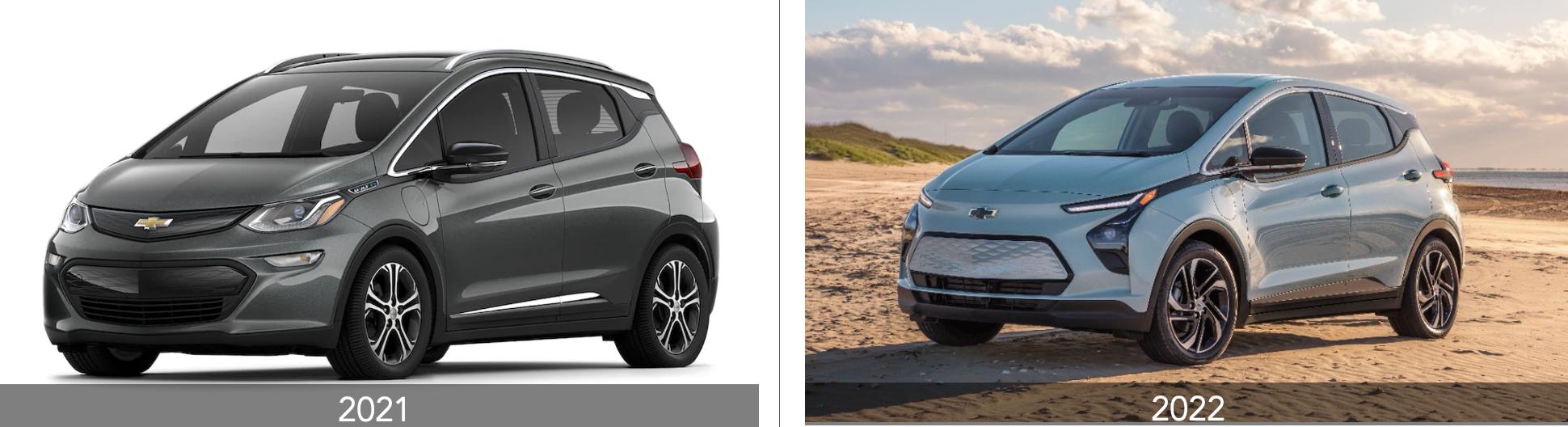 Chevrolet Bolt EV 2021 versus 2022