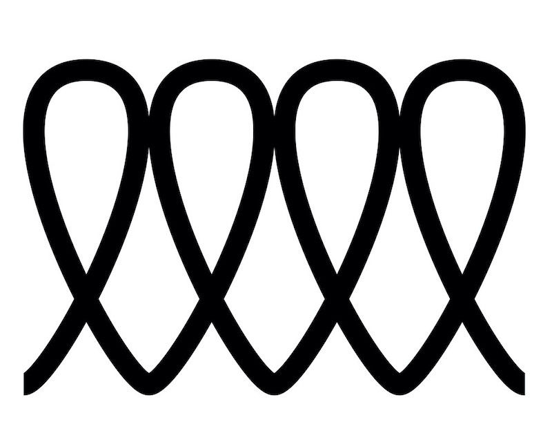 A coil symbol, showing the product is induction compatible