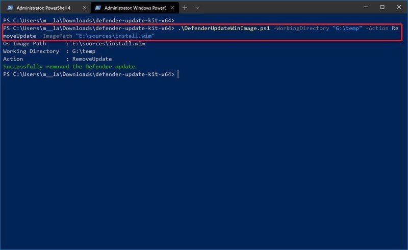 Microsoft Defender remove update from Windows 10 image command