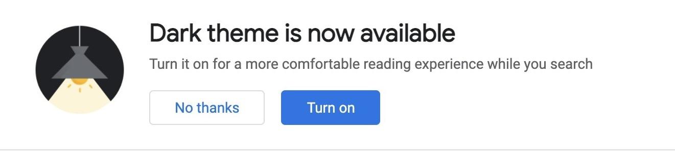 Google dark mode alert