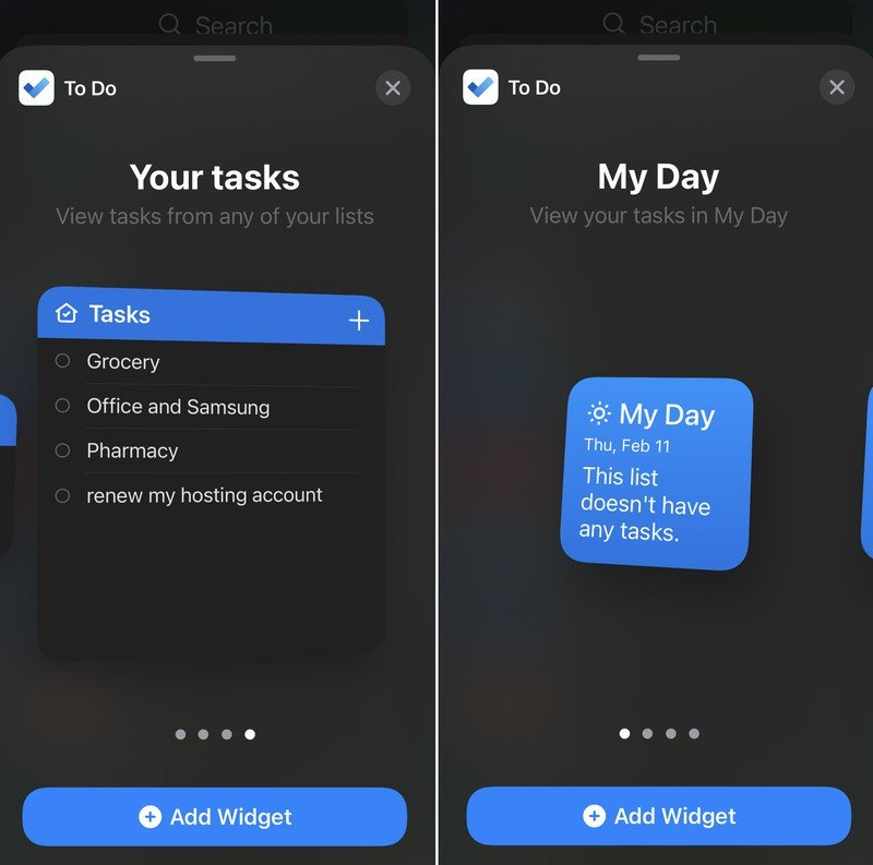 Microsoft To Do Ios Widgets Screens