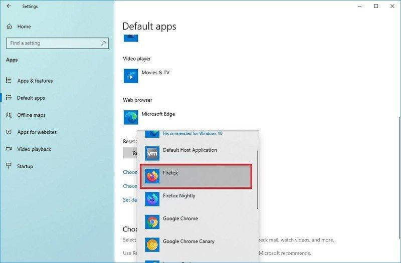 Windows 10 set Firefox default browser