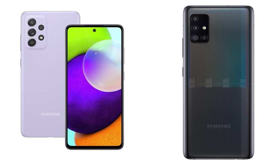 The Galaxy A52 5G camera module (left) will be slightly different in design from the one on the A51 5G (right) - Samsung Galaxy A52 5G vs Galaxy A51 5G: early comparison