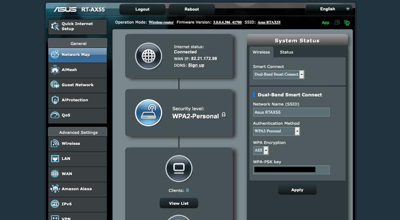 Asus RT-AX55 control panel