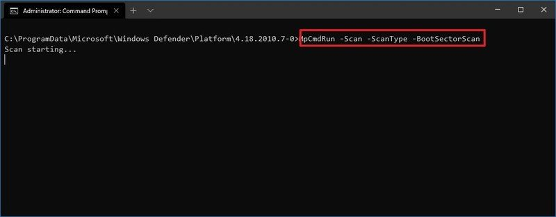 Microsoft Defender boot sector scan
