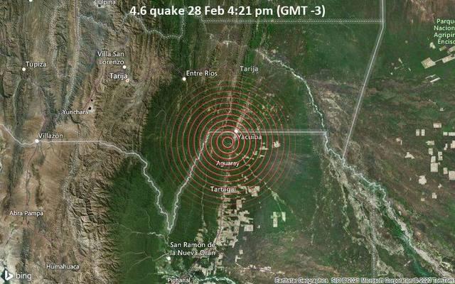 4.6 quake 28 Feb 4:21 pm (GMT -3)