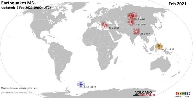 Worldwide earthquakes above magnitude 5 during February 2021