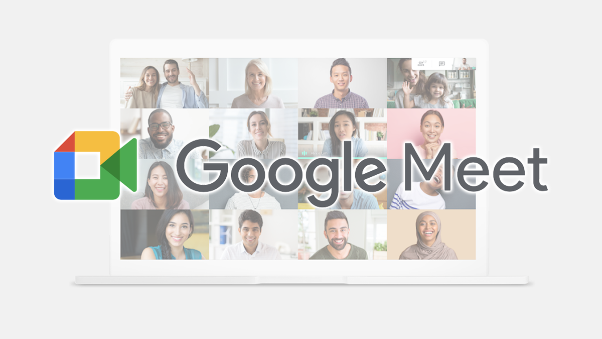 The Google Meet logo over a large video call.