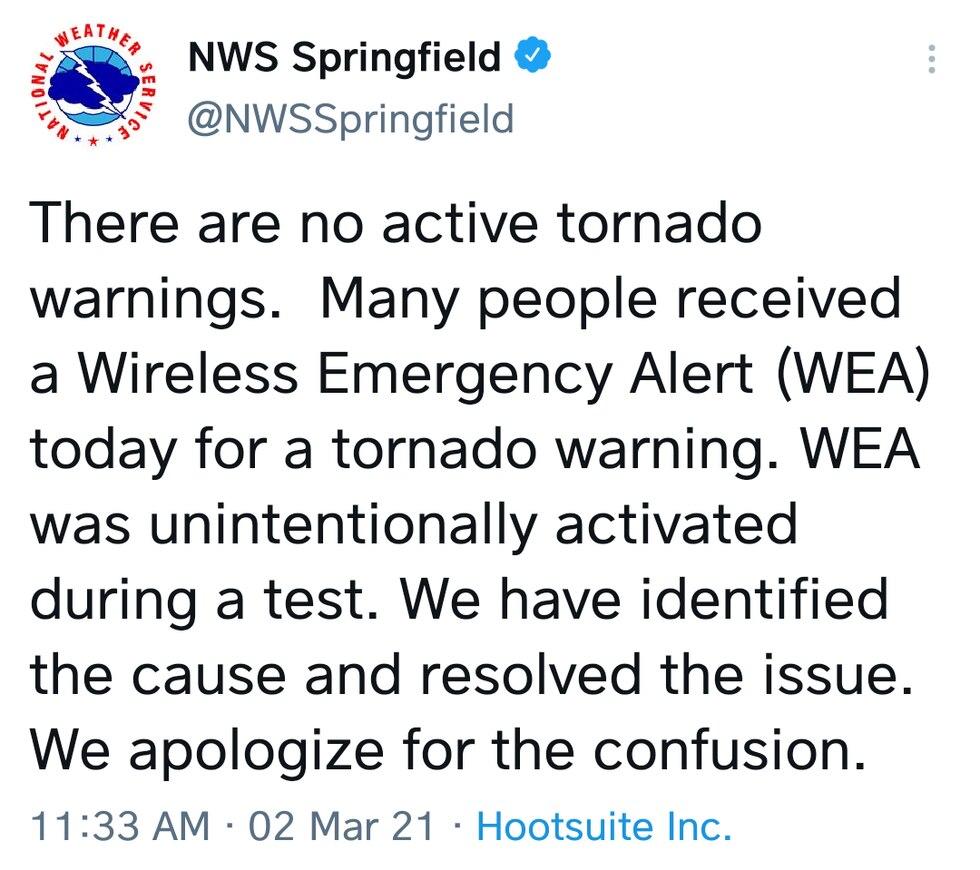 Springfield NWS clarifies warning issue