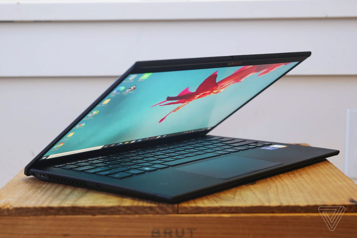 The Vaio Z from the left side, half open.