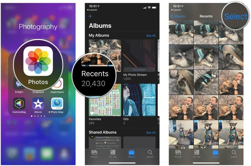 Start a slideshow with select photos in Photos app on iPhone and iPad by showing steps: Launch Photos, tap your album, tap Select