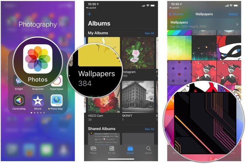 Set your iPhone or iPad wallpaper using the Photos app by showing steps: Launch Photos, tap on the album you want to use, tap on your photo
