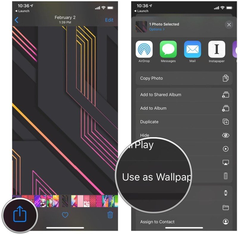 Set your iPhone or iPad wallpaper using the Photos app by showing steps: Tap the Share button, tap Use as Wallpaper