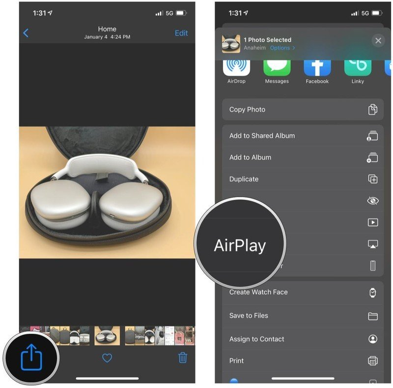 AirPlay photos to your TV from iPhone by showing steps: tap Share, tap AirPlay, then select your Apple TV